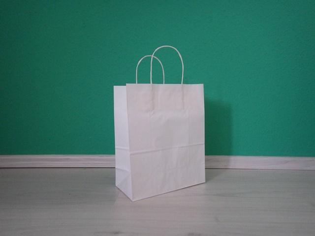 fehér sodrottfüles reklámtáska 22x27x11cm méretben