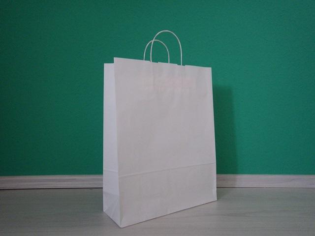 fehér sodrottfüles reklámtáska 32x41x12cm méretben
