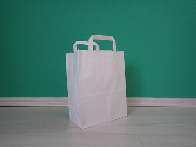 fehér szalagfüles reklámtáska 22x28x11cm méretben