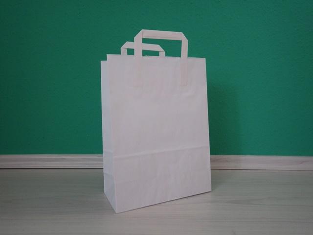 fehér szalagfüles reklámtáska 25x34x12cm méretben