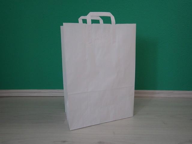 fehér szalagfüles reklámtáska 32,5x45x17cm méretben