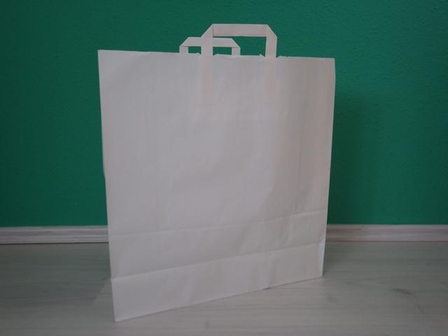 fehér szalagfüles reklámtáska 45x48x17cm méretben